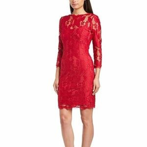 Adrianna Pappel Long Sleeve Lace Sheath Dress